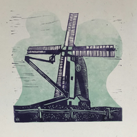 """Oldland Mill"" Letterpress and Lino-cut poster. Purple"