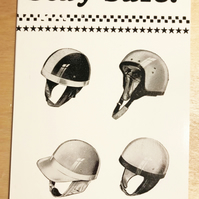 Stay Safe Crash Helmet Letterpress Postcard