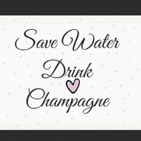 Save Water Drink Champagne A5 Postcard