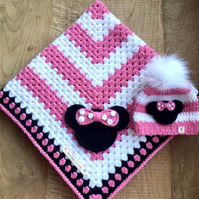 'Baby Minnie' Hand Crocheted Baby Blanket and Beanie Set