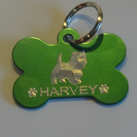 West Highland Terrier ID tag with silhouette of the breed on the front
