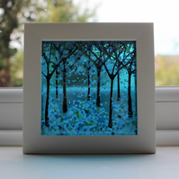 Amazing Fused Glass Woodland Picture 'Turquoise Days'