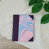 Half Leather Bound Petite Book with Marbled paper