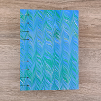 Green-Blue Marbled Chevron Sketchbook