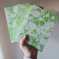Notebook with Green Hand Marbled Paper