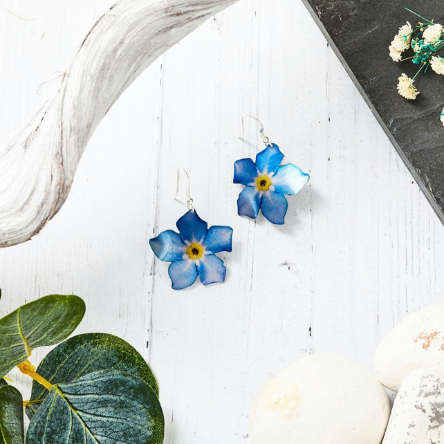 Forget Me Not Floral Earrings, Aluminium