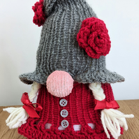 Handmade crocheted and knitted gnome doorstop