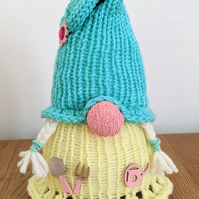 Handmade crocheted and knitted garden loving gnome doorstop