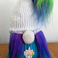 Handmade crocheted and knitted Unicorn lover gnome doorstop