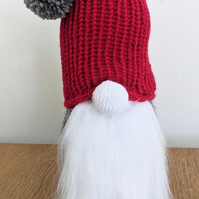 Handmade crocheted and knitted Christmas gnome doorstop