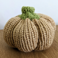 Handmade weighted pumpkin crocheted and knitted