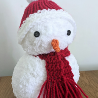 Weighted snowman decoration handmade knitted and crocheted doorstop Christmas