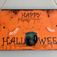 Glow in the dark Happy Halloween wooden plaque sign