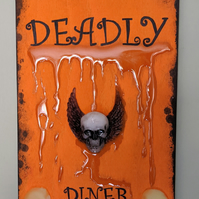 Glow in the dark Halloween Kitchen wooden plaque sign