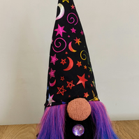 Handmade witch crocheted and knitted gnome doorstop halloween