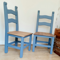 Pair of Upcycled Ladder Back Cottage Chairs