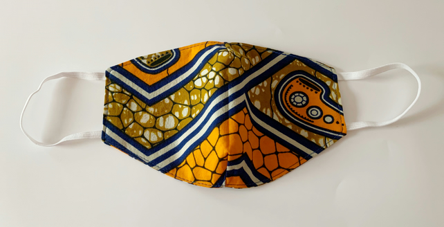 Face Mask in an orange, blue, brown and white African Ankara wax print fabric