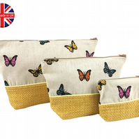 Set of 3 Yellow Butterfly Make Up Bags, Wash Bag, Make Up Bag, Waterproof