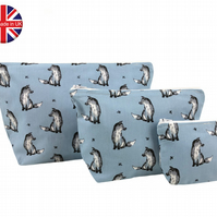 Set of 3 Blue Fox Wolf Makeup Bags, Wash Bag, Cosmetic Bag, Waterproof, Blue