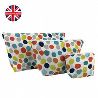 Set of 3 Multi Coloured Spot Makeup Bags, Cosmetic Bag, Make Up Bag, Waterproof