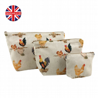 Set of 3 Chicken Makeup Bags, Hen Makeup Bags, Cosmetic Bag, Wash Bag, Toiletry