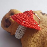 Small red fly agaric crochet mushroom key ring with bead spots