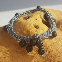 Crocheted bracelet with volcanic lava beads