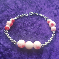 Red and white Jade bead bracelet