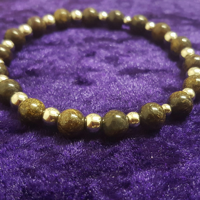 Bronzite semi-precious gemstone stretch bracelet
