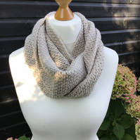 Infinity scarf in soft dk acrylic yarn colour parchment