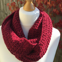 Infinity scarf in soft acrylic and Merino wool mix. Colour burgundy