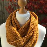 Hand made Infinity scarf in Gold