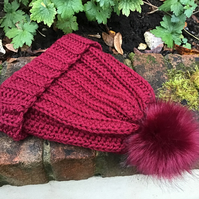 Chunky hat in acrylic and Merino wool colour Wine Red with Red faux fur Pom Pom
