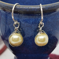 Silver Wrapped Pearlised bead drop earring on real silver hook.