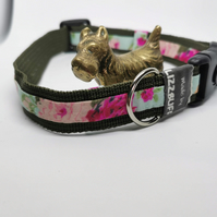 Military green & floral dog collar