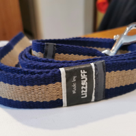 Blue Striped Dog Lead with Chrome clip