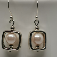 Silver frame & pink glass bead earring, on real silver ear wire
