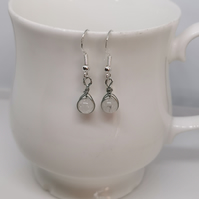 Silver wrapped - rose quartz bead earring, on real silver hook.
