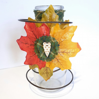 Autumn Leaf Milk Bottle Vase Table Decoration Vintage Bed Spring