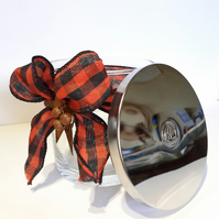 Christmas Recycled Candle Jar & Lid with Buffalo Plaid Ribbon Decoration