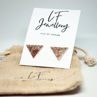 Copper and Silver Triangle Studs