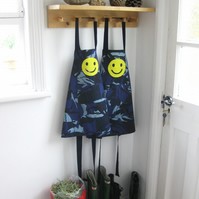 Kids apron, boys apron, blue camouflage print, hand appliquéd 'Smiley' 3-4y 5-7y