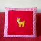Little deer appliqué, pink spotty cushion- soft cotton jersey