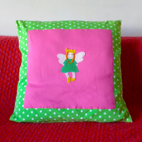 Fairy Princess, Girl's Room Cushion, cosy soft cotton jersey.