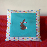 Bunny rabbit children's cushion, spotty soft cotton jersey