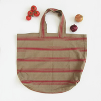Extra Large Shopping Bag, Cotton Canvas Taupe and Red Stripe