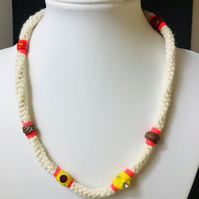 white crochet and clay necklace