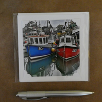 SALE - Fishing Boats White Blank Card