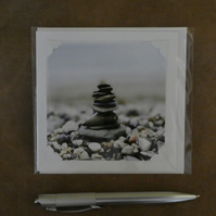 SALE - Balancing Pebbles White Blank Card