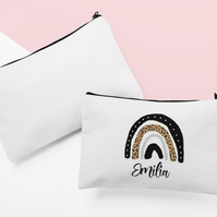 Personalised cosmetic pouch with rainbow design in white with black zip